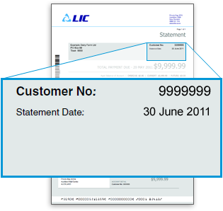 Your Customer Number can be found at the top right of your LIC invoice.